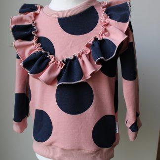 rózowa bluza w grochy
